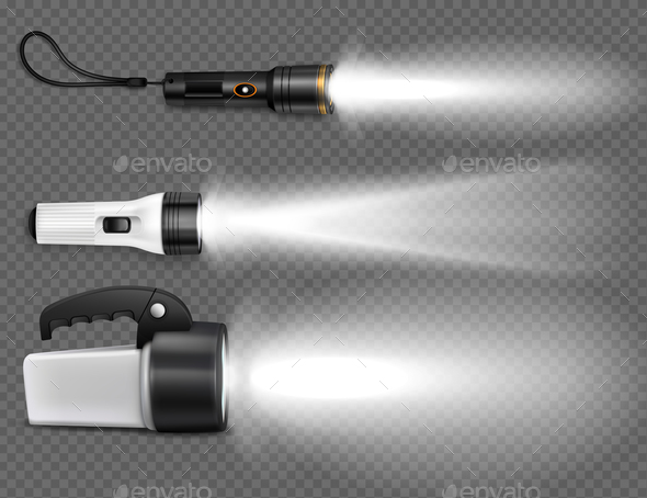 GraphicRiver Realistic Flashing Flashlights Icon Set 20921392