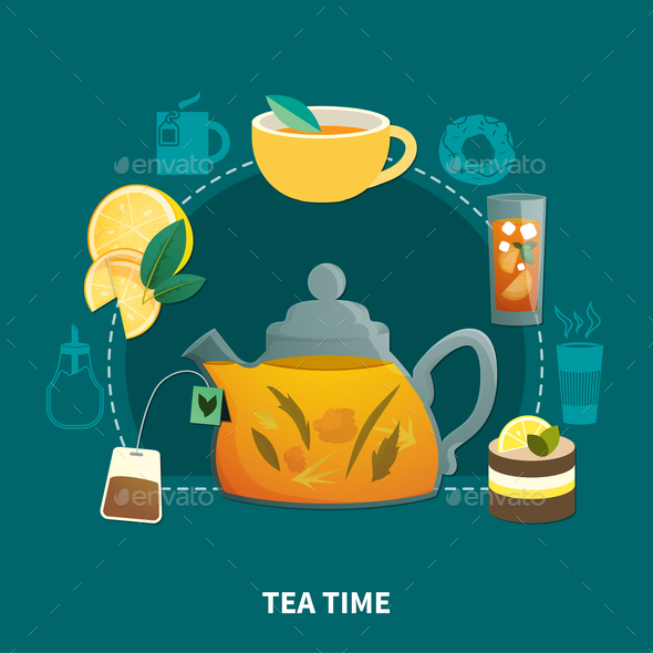 GraphicRiver Tea Time Flat Composition 20921396