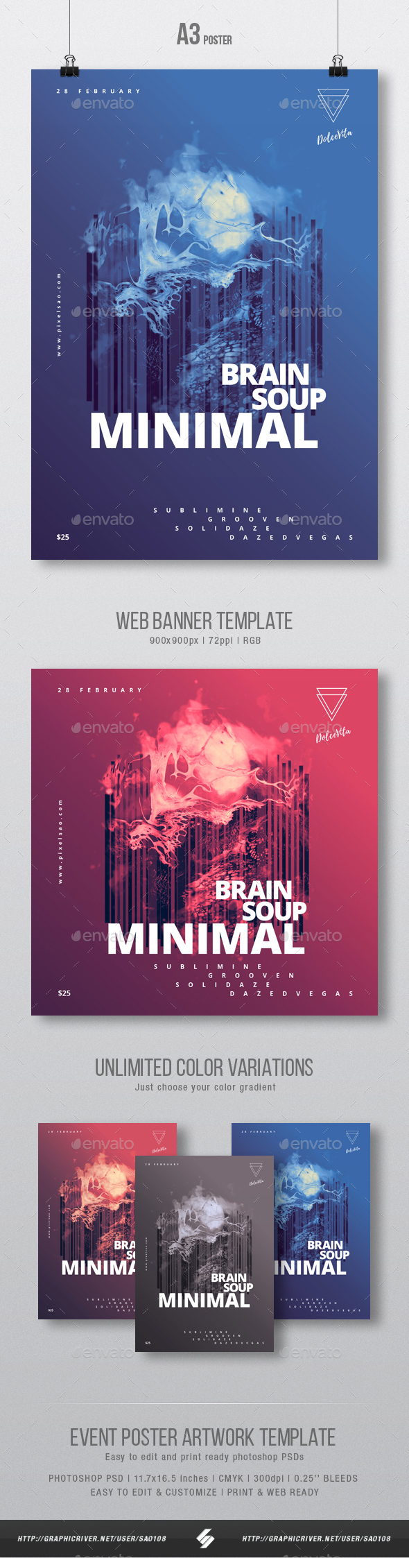 Brain Soup - Minimal Party Flyer / Poster Artwork Template A3 - Clubs & Parties Events