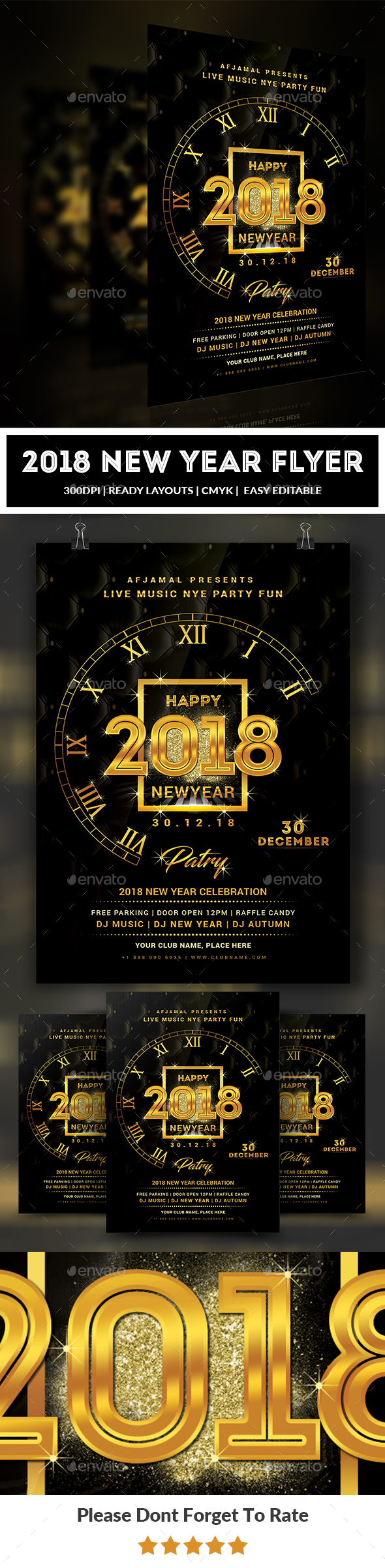GraphicRiver 2018 New Year Flyer Template 20921470