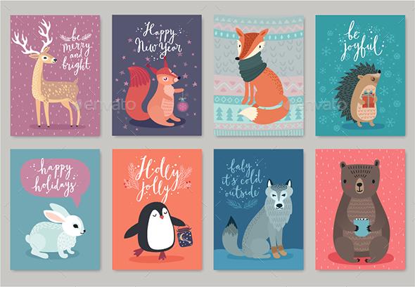 Christmas Animals Card Set - Christmas Seasons/Holidays