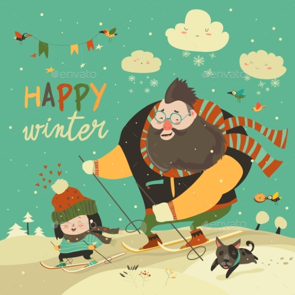 Happy Father and Daughter Skiing in Snow - People Characters