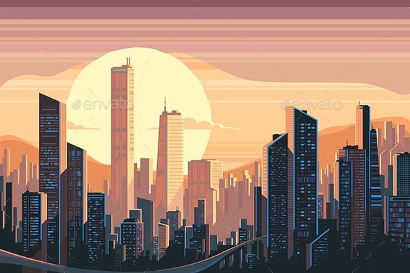 Sunrise Landscape in City - Buildings Objects