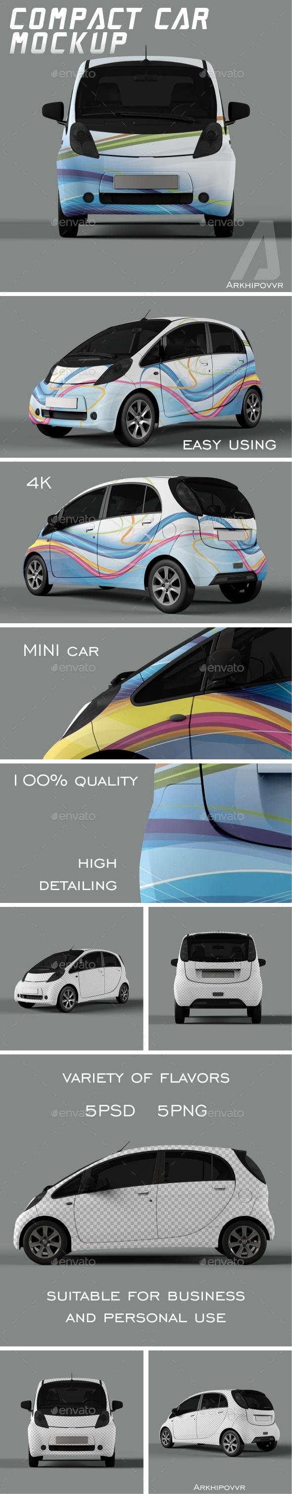 Compact Car Mockup - Product Mock-Ups Graphics