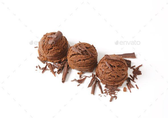 scoops of chocolate ice cream - Stock Photo - Images
