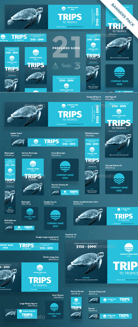 GraphicRiver Travel Banner Pack 20922060