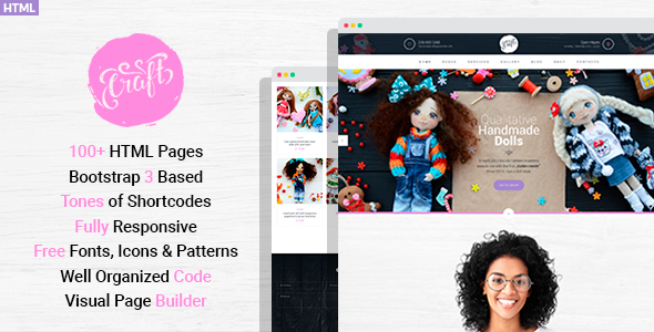 Craft Plus - Hobby and Crafts HTML Template with Visual Page Builder - Personal Site Templates