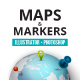 Maps and markers infographic pack - GraphicRiver Item for Sale