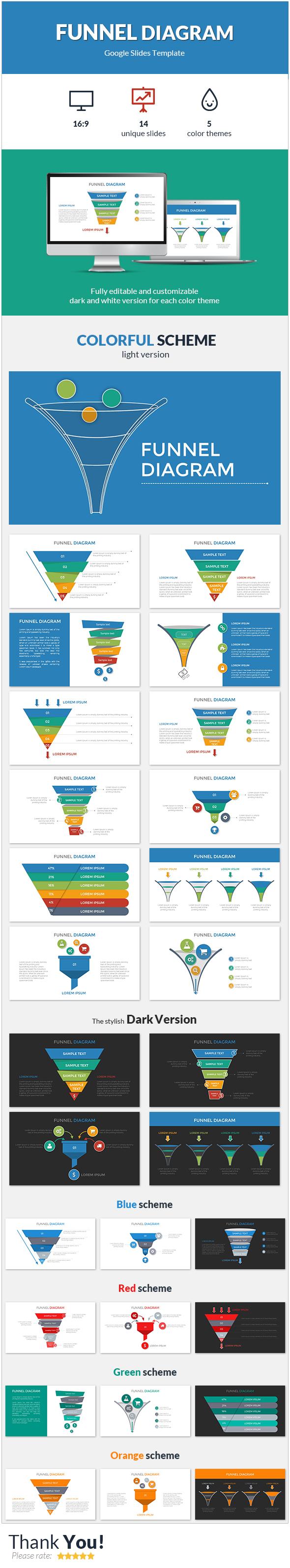 Funnel Diagram Google Slides Template - Google Slides Presentation Templates