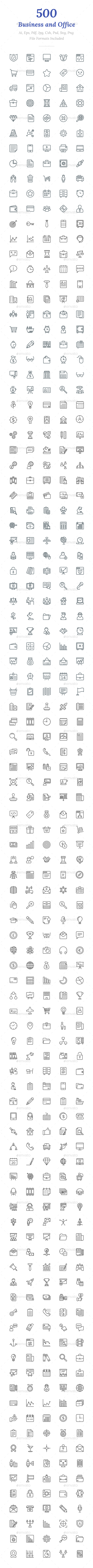 GraphicRiver 500 Business and Office Line Icons 20922352
