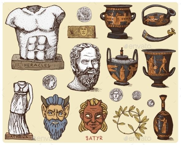 Ancient Greece Antique Symbols - Miscellaneous Vectors