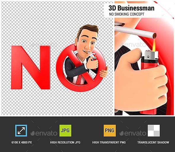 3D Businessman No Smoking Concept - Characters 3D Renders