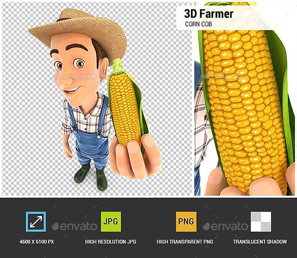 3D Farmer Holding Corn Cob - Characters 3D Renders