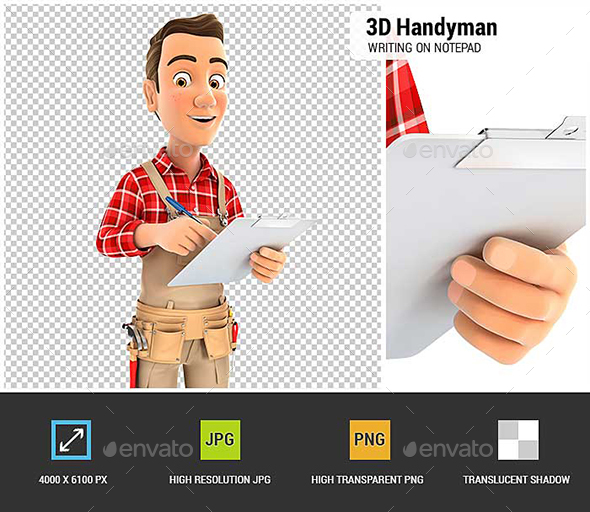3D Handyman Writing on Notepad - Characters 3D Renders
