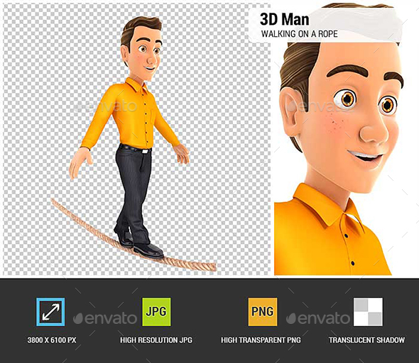 GraphicRiver 3D Man Walking on a Rope 20922499