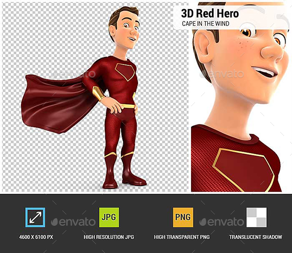GraphicRiver 3D Red Hero Standing with Cape in the Wind 20922504