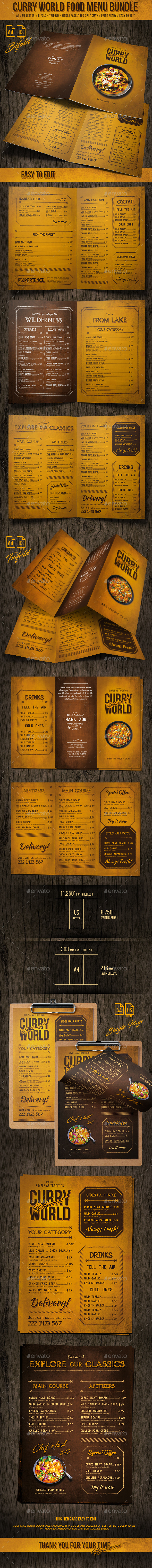 Curry World Retro Food Menu Bundle - Food Menus Print Templates
