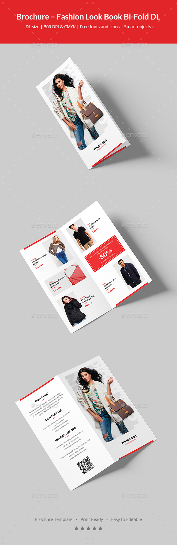 Brochure – Fashion Look Book Bi-Fold DL - Informational Brochures