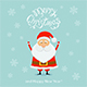 Blue Christmas Background with Happy Santa and Snowflakes