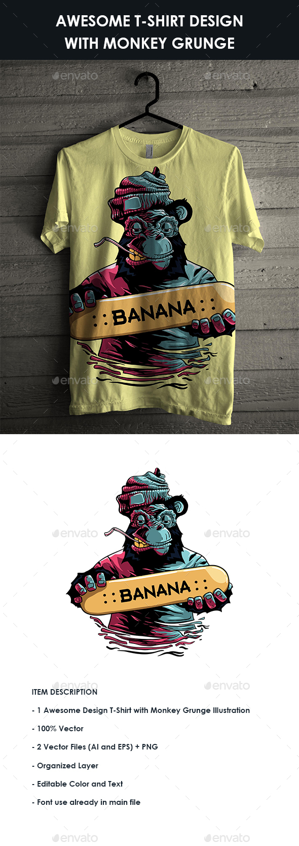 GraphicRiver T-Shirt design with Monkey Grunge Illustration 20890193