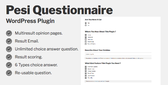 Pesi Questionnaire - Multiresult Survey and Quiz WordPress Plugin - CodeCanyon Item for Sale