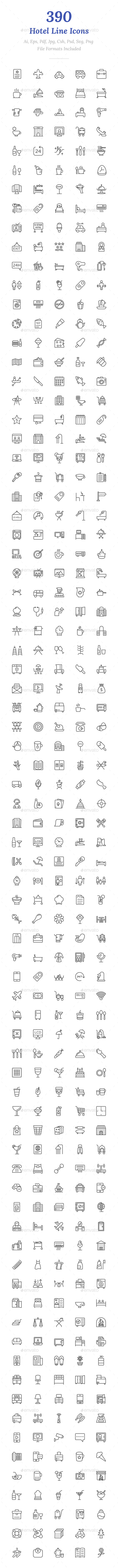 390 Hotel Line Icons - Icons
