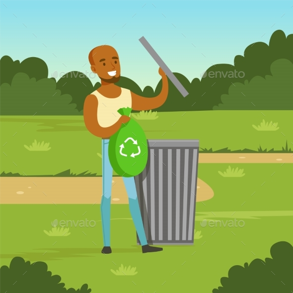 Ecological Lifestyle Concept with Man Character - Miscellaneous Vectors