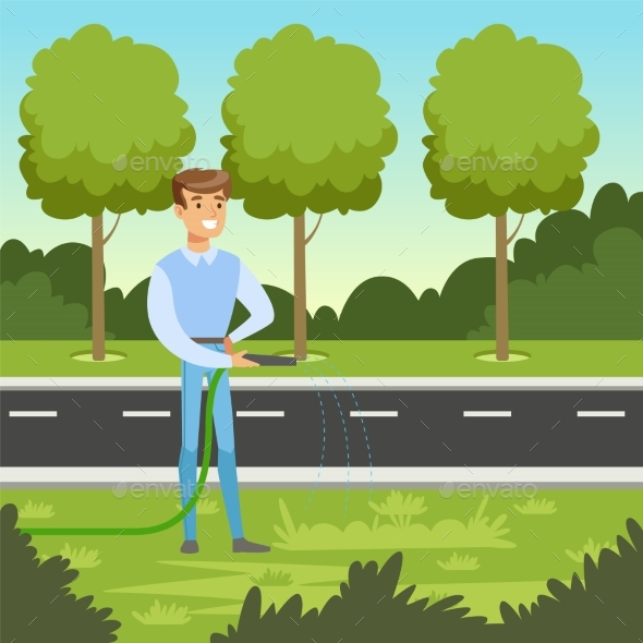 Eco Life Concept with Man Character Watering - Miscellaneous Vectors