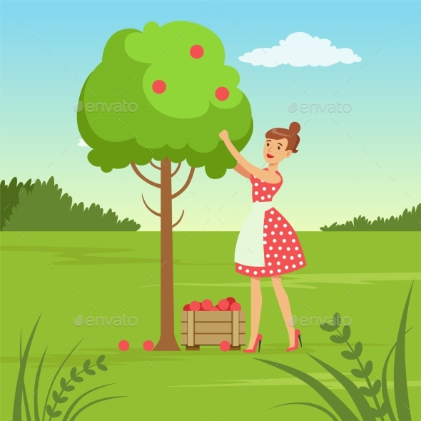 GraphicRiver Flat Woman Character Collecting the Harvest 20922896