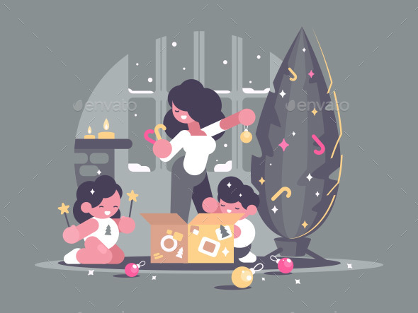 GraphicRiver Mother with Children Decorate Christmas Tree 20923131