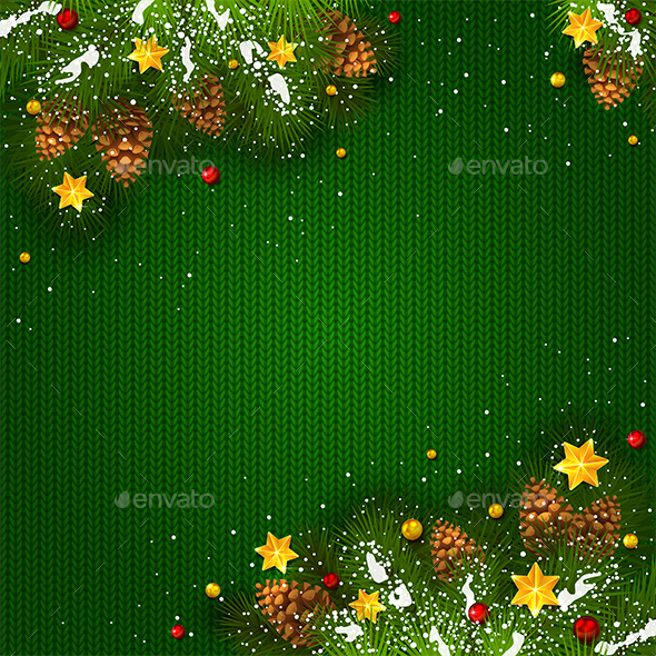 GraphicRiver Christmas Decorations with Snow and Stars on Green Knitted Background 20923254