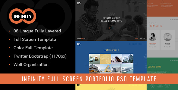 ThemeForest Infinity Full Screen Agency Portfolio PSD Template 19373875