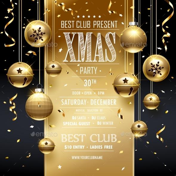 Christmas Party Design Golden - Christmas Seasons/Holidays