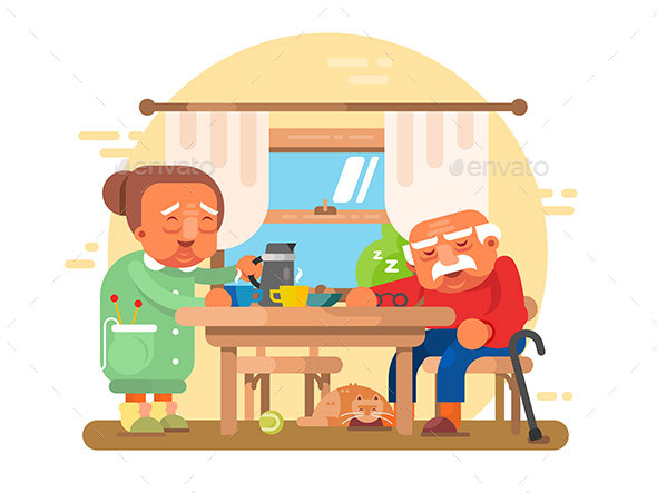 GraphicRiver Elderly Grandparents Breakfast Flat 20923638