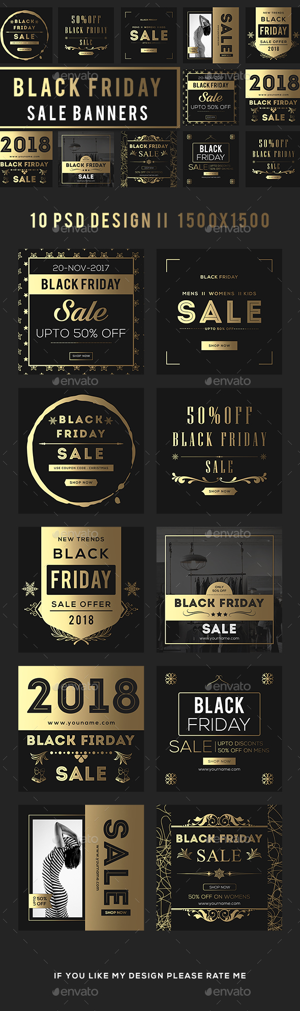 Golden Black Friday Sale Banners - Banners & Ads Web Elements