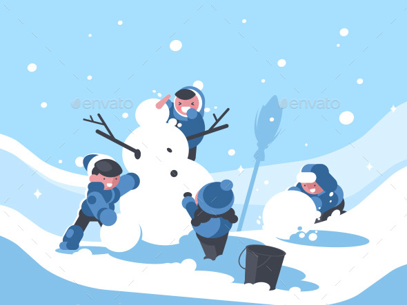 Children Build Snowman in Winter - Characters Vectors
