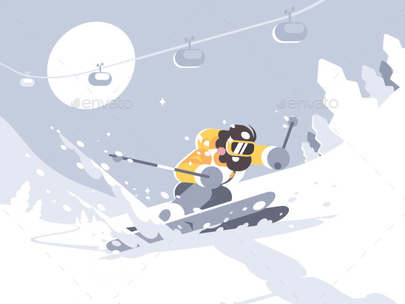 Skier Skiing in Ski Resort - Sports/Activity Conceptual