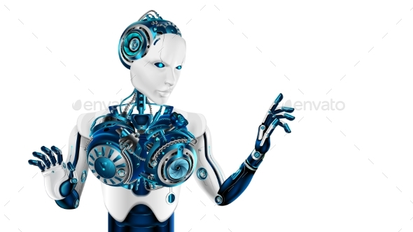 GraphicRiver Humanoid Robot Woman Points the Forefinger 20923911