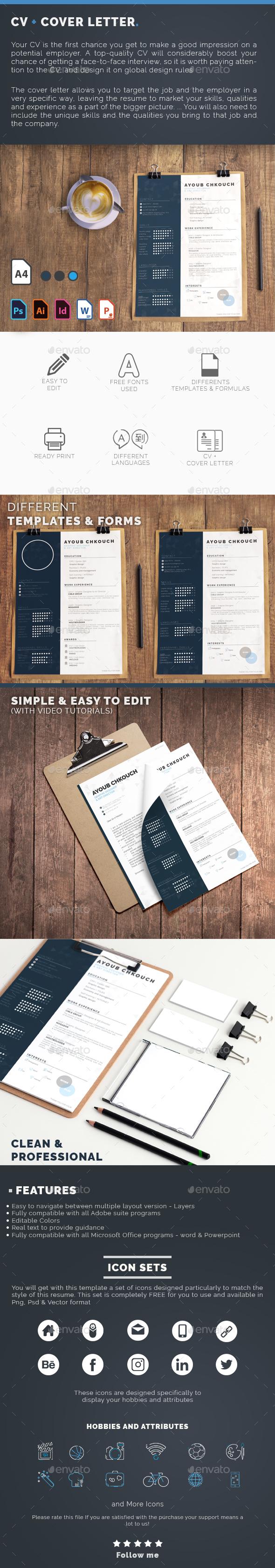 GraphicRiver CV & Cover letter Multi Language 20874707
