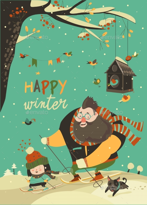 GraphicRiver Happy Father and Daughter Skiing in Snow 20924018