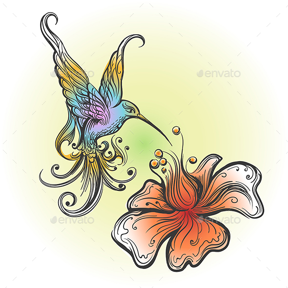 GraphicRiver Flying Hummingbird in Tattoo Style 20924143