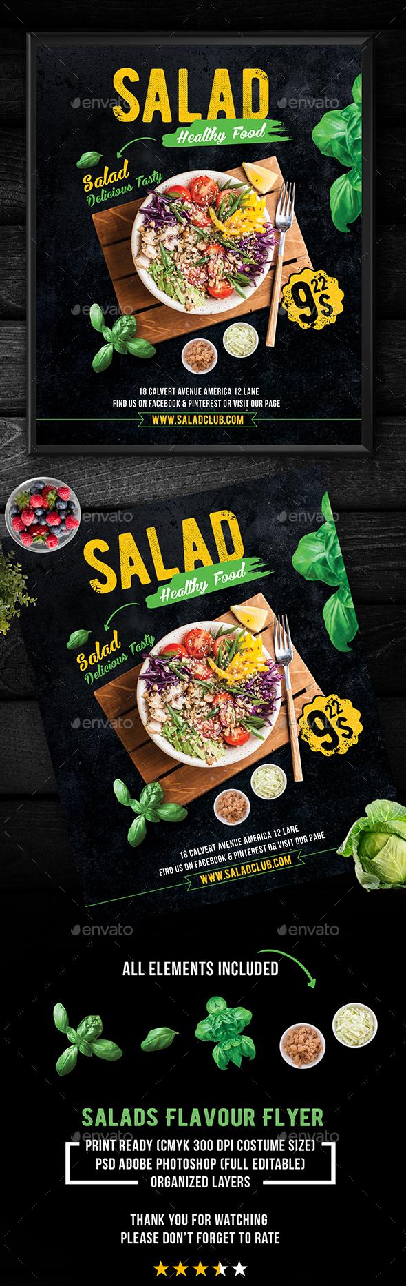 Salad Flavor Flyer Template - Flyers Print Templates