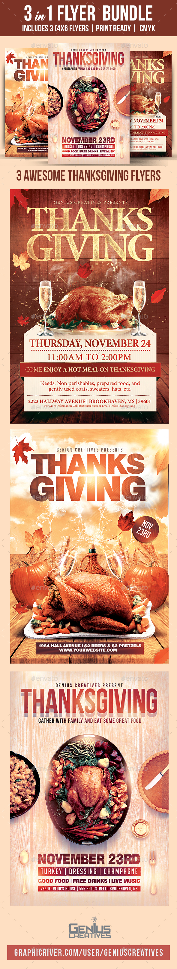 GraphicRiver Thanksgiving Flyer Bundle Volume 1 20924197