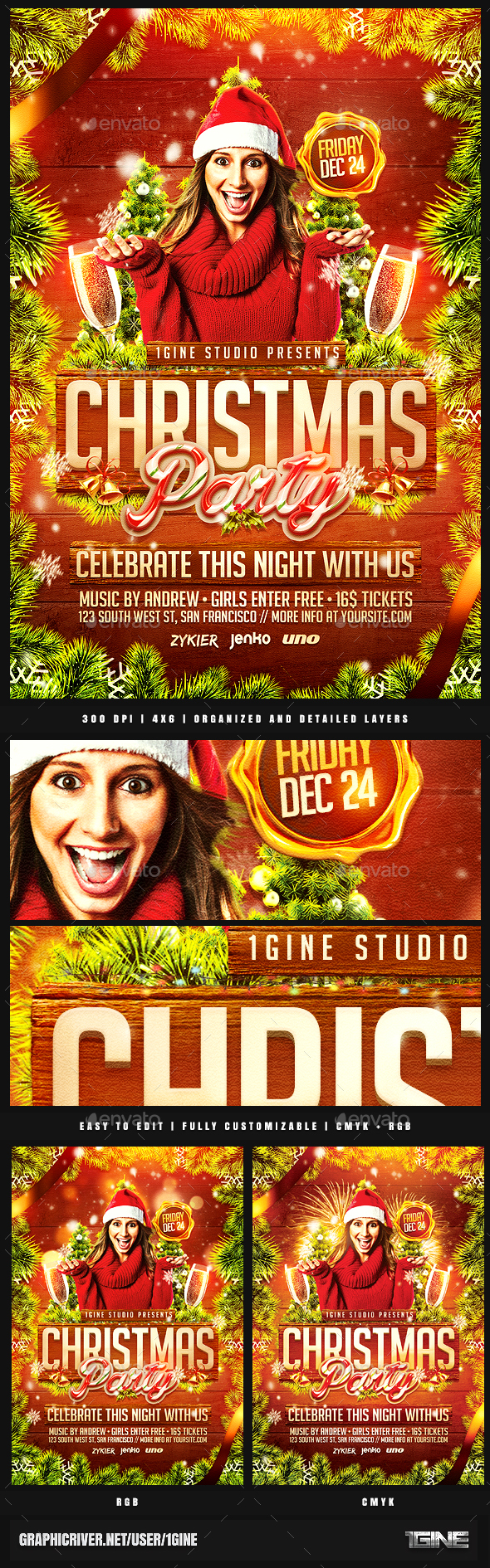 Christmas Party Flyer Template v2 - Clubs & Parties Events