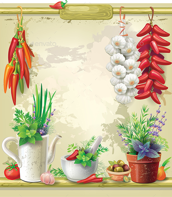 Country Still Life with a Bunch of Red Pepper and Garden Herbs - Food Objects