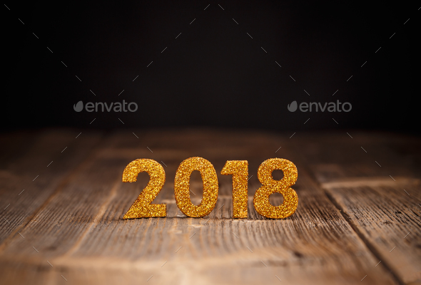 2018 year golden figures - Stock Photo - Images