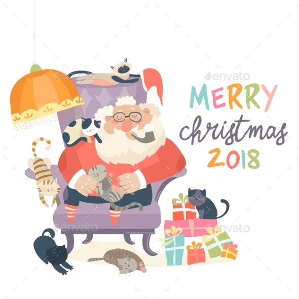 Santa Claus Sitting in Armchair with Cats - Christmas Seasons/Holidays