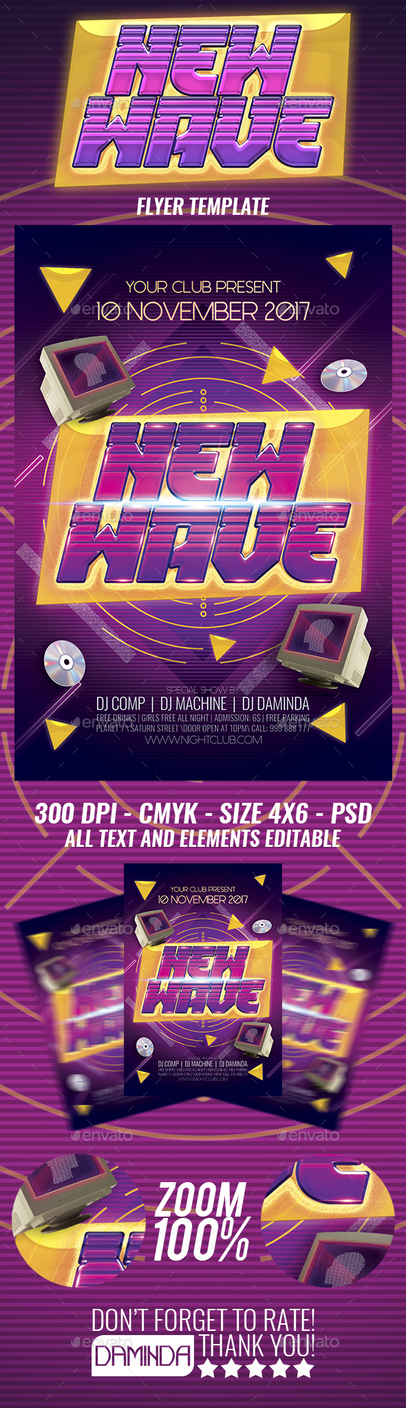 New Wave 3 Flyer Template - Clubs & Parties Events