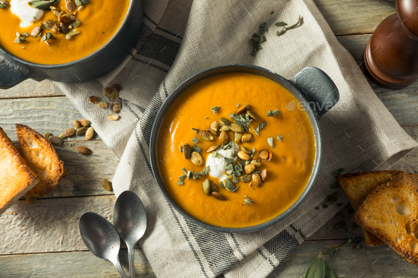 Homemade Curry Butternut Squash Soup - Stock Photo - Images