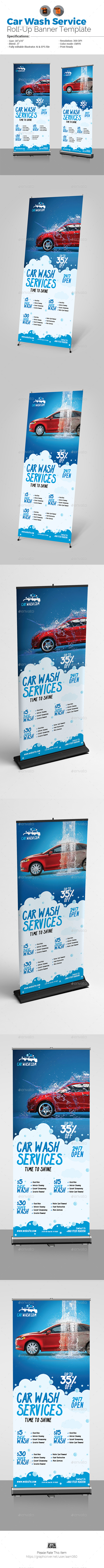 Car Wash Services Roll-Up Template - Signage Print Templates